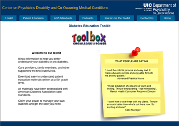 Graphic showing The Diabetes Education Toolkit