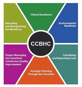Image showing the main components of CCBHCs: 1) clinical excellence, 2) enviromental readiness, costs, strategic planning, project management and CQI, and educating the workforce