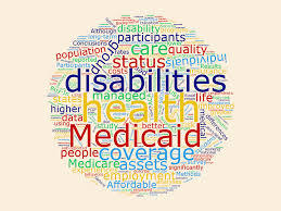Image of many words related to disability policy, such as Medicaid, coverage, health, and quality