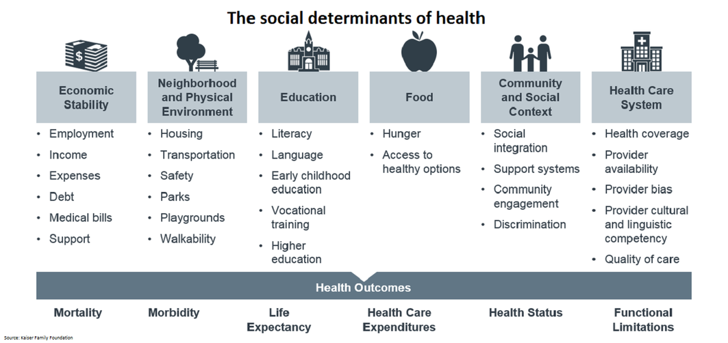 This graphic shows that the social determinants of health are economic stability, physical environment, education, access to food, community and social context, and the health care system