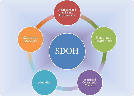 Image of the main SDOH: 1) neighborhood, health care, social & community, education, and economic situation